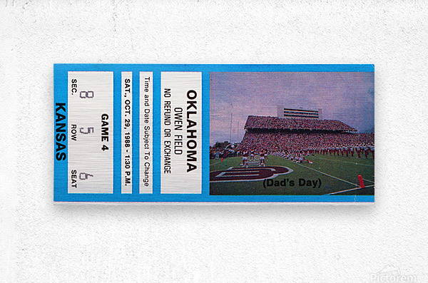 1988 oklahoma sooners kansas college football ticket art   Metal print