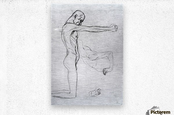 Man with with outstretched arms by Klimt  Metal print