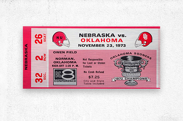 1973 oklahoma sooners nebraska cornhuskers owen field norman college football ticket art  Metal print