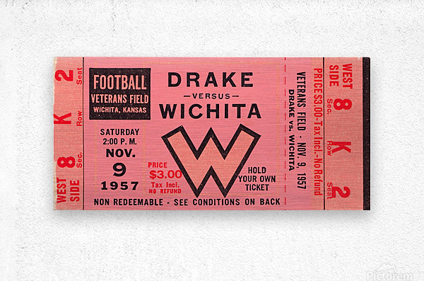 1957 drake wichita kansas college football ticket wall art  Metal print