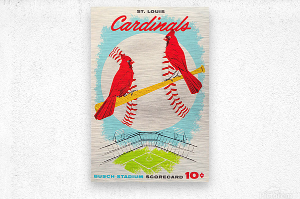 1957 st louis cardinals baseball score card wall art  Metal print