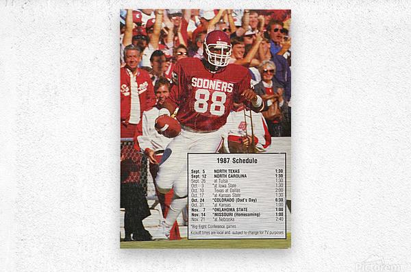1987 oklahoma sooners football schedule poster  Metal print