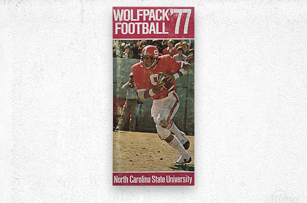 1977 nc state wolfpack retro college football poster johnny evans qb  Metal print