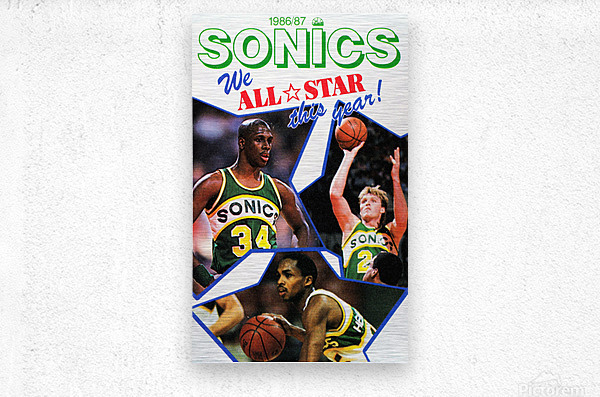 1987 seattle supersonics nba all star game poster  Metal print