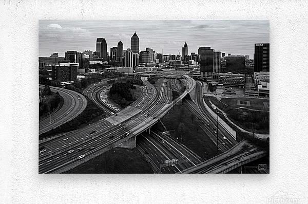 Interstate 75 85 Aerial View   Atlanta GA 0225  Metal print