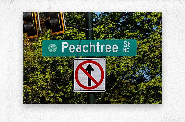 Peachtree St Road Sign   Atlanta GA 7162  Metal print