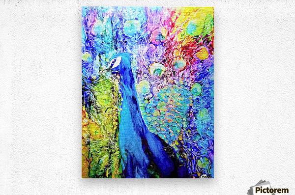 Impasto Peacock  Metal print