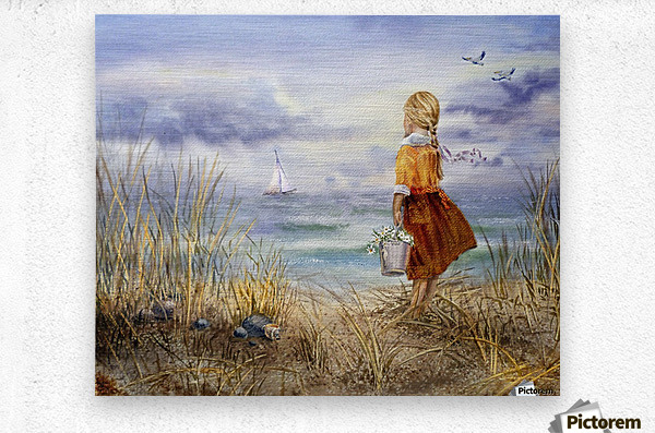 Girl And The Ocean  Metal print