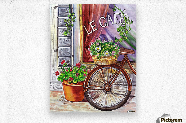French Cafe And Bicycle With Basket  Metal print