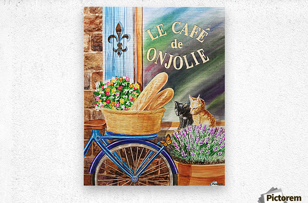 Bicycle With Basket At The Cafe Window  Metal print