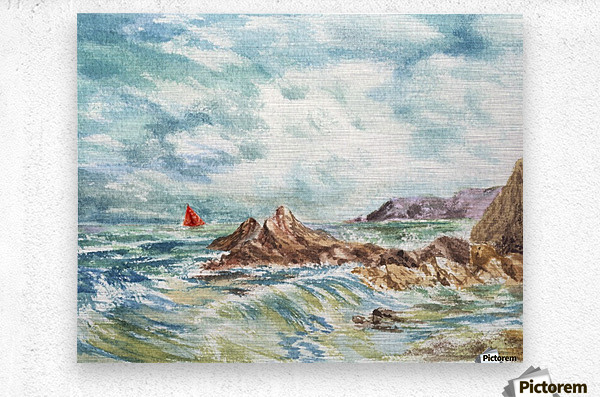 Red Sails At The Shore  Metal print
