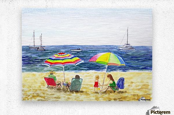 Two Umbrellas On The Beach  Metal print