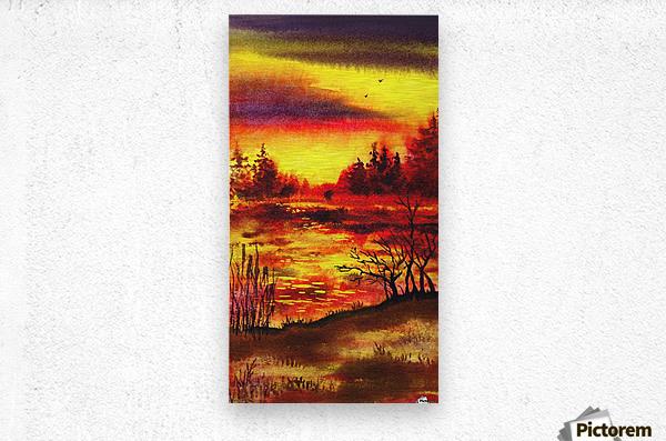Bright Sunset At The Lake  Metal print