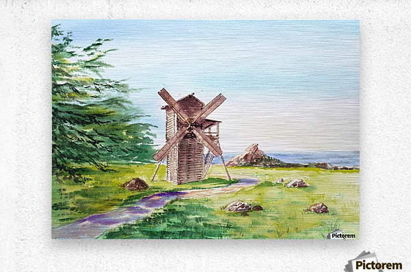 Landscapes Of California Fort Ross Windmill  Metal print