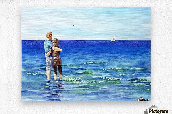 Couple And The Sea  Metal print