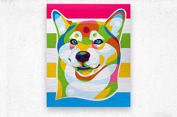 Shiba Inu Colorful Dog  Metal print