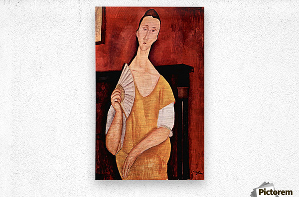 Modigliani - Portrait of Lunia Czechowska with fan  Metal print
