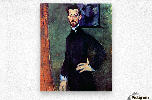Modigliani - Portrait of Paul Alexanders before a green background  Metal print