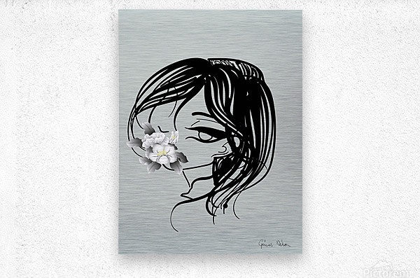 doodle with watercolor flower  Metal print