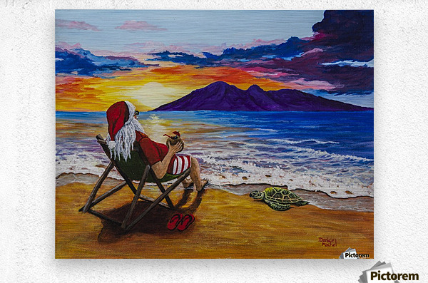 Sunset Santa  Metal print