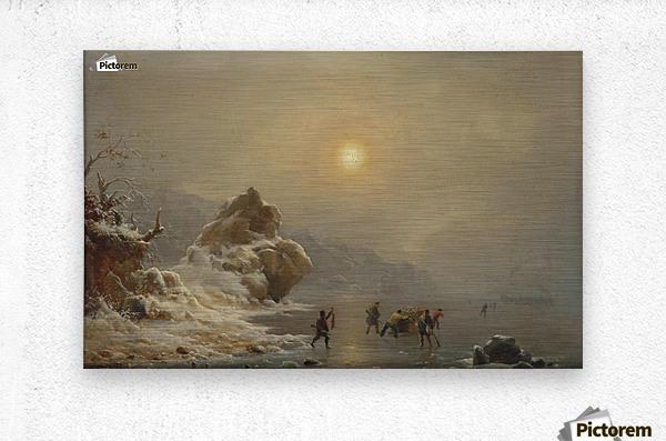 Eine Winterlandschaft mit Jagern auf dem Eis  Metal print