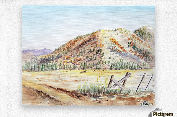 Landscape With Mountains Ranch And Cows  Metal print