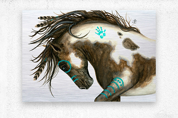 Pinto Horse Turquoise   Metal print