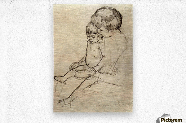 Mother and Child 2 by Cassatt  Metal print