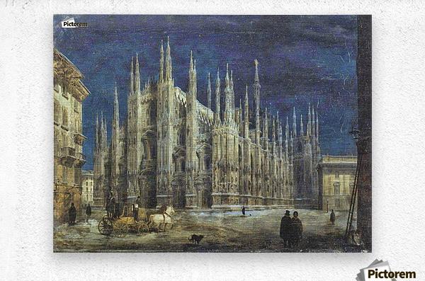 Night view of Piazza del Duomo in Milan  Metal print