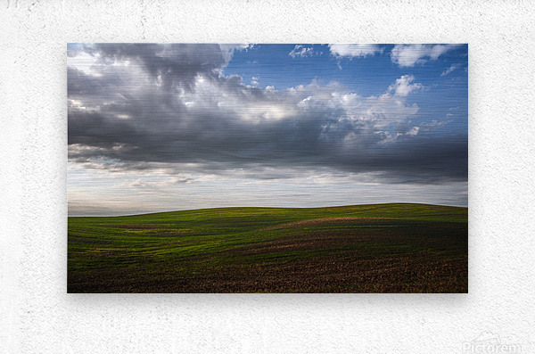 Fields and clouds  Metal print