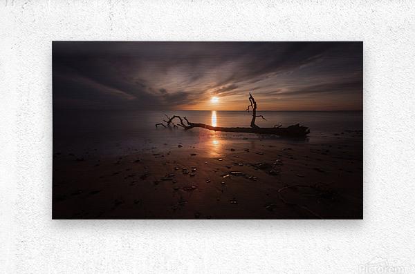 Sunset on Sker Beach  Metal print