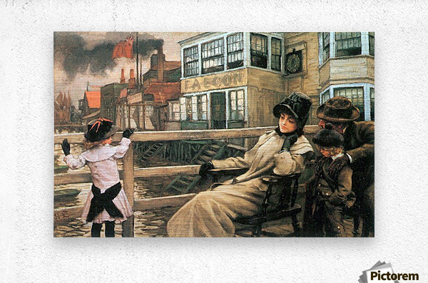 On the ferry waiting 2 by Tissot  Metal print