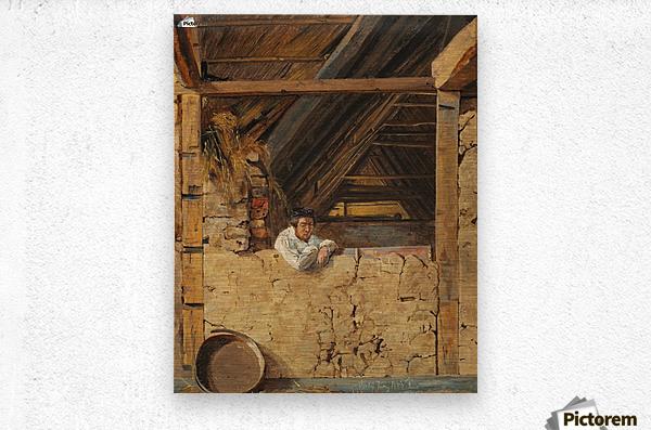 Peter Christian Skovgaard appuye contre un muret dans une etable, 1843  Metal print