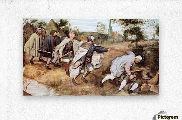 Parabal of the blind men by Pieter Bruegel  Metal print