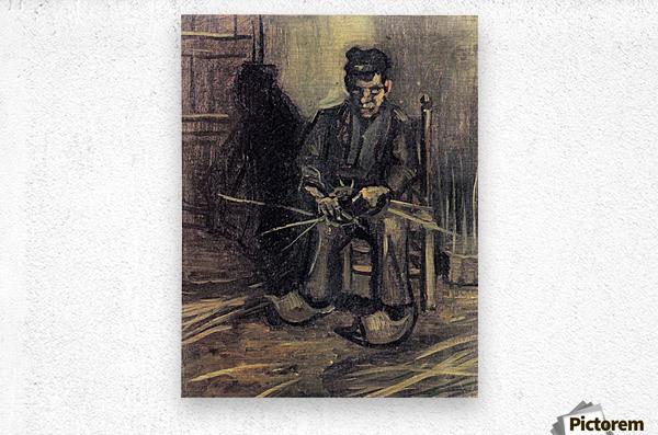 Peasant Making a Basket by Van Gogh  Metal print