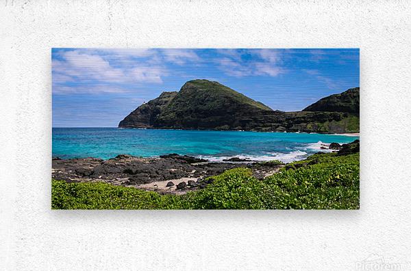 Hawaii Mountain Cliff on Coast  Metal print
