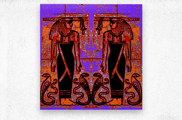 Egyptian Priests And Snakes In Garden 1  Metal print