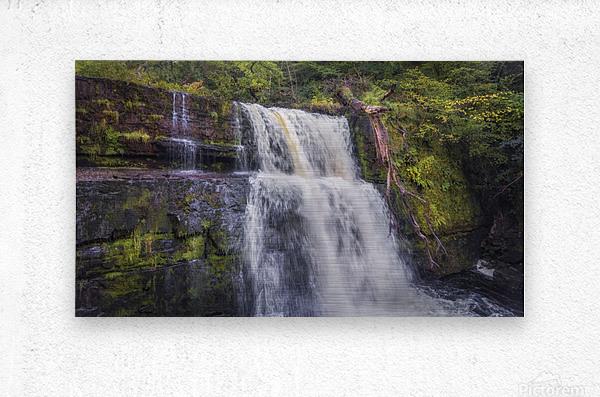 The waterfall Sgwd Clun Gwyn   Metal print