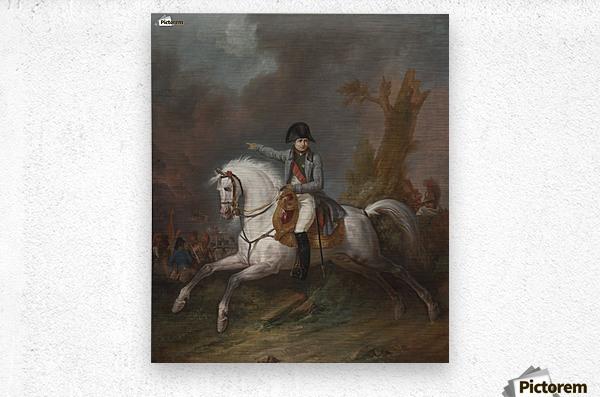 Un portrait equestre de l'empereur Napoleon avec une bataille au dela  Metal print
