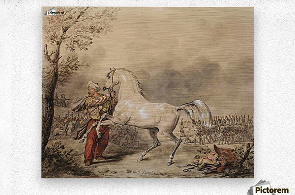 Oriental soldier and his horse  Metal print