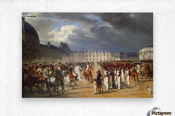 An Invalid Submitting a Petition to Napoleon at a Parade in the Courtyard of the Tuileries Palace 1838  Metal print