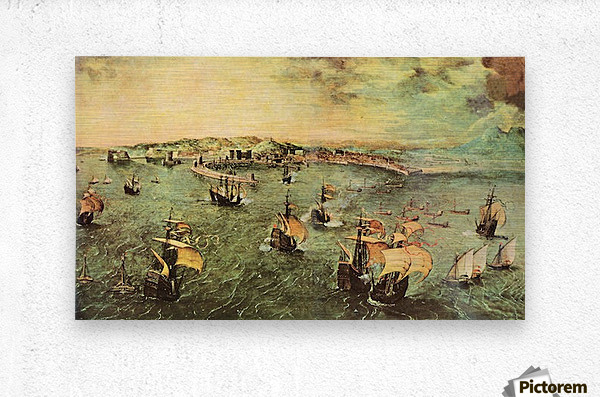 Port of Naples by Pieter Bruegel  Metal print
