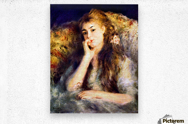 Portrait of a girl in thoughts by Renoir  Metal print