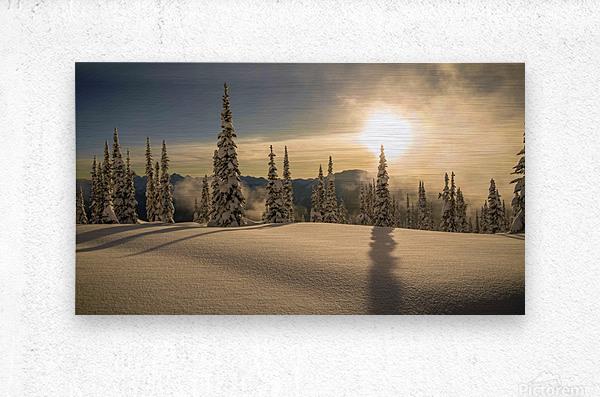 Trout lake BC Alpine sunset  Metal print