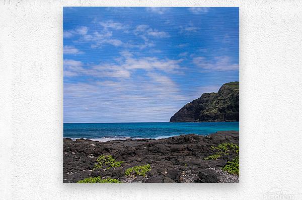 Hawaii Cliff and Coastline Square Panorama  Metal print