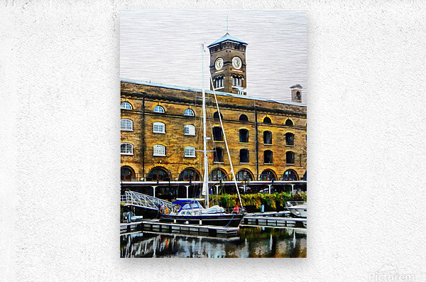 Boats in Front of Clock Tower St Katharine Docks  Metal print