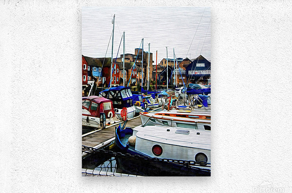 St Katharine Docks Boats 5  Metal print