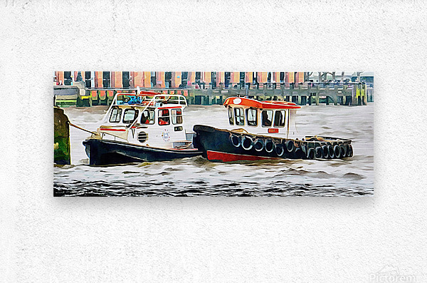 Two Boats Tied Up On The River Thames London  Metal print