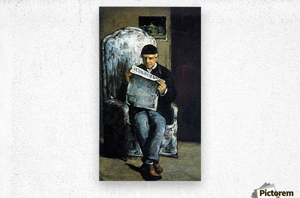 Portrait of Louis-Auguste Cezanne, the father of the artist, reading from L Evenement by Cezanne  Metal print