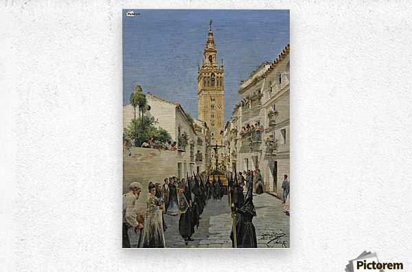 Easter Procession on Mateos Gago Street in Seville  Metal print